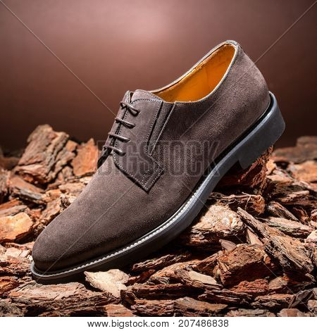 One man's brown leather shoes on a bark background