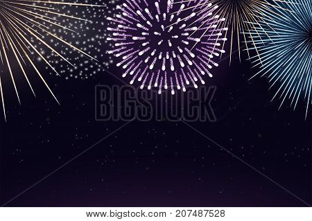 Fireworks On Night Sky Background. Realistic Holiday Fireworks Background. Brightly Fireworks Is Bur