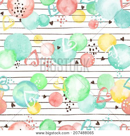 Watercolor texture. Aquarelle circles in fansy colors. Seamless pattern. Watercolor circles with dry brush hearts and stripes isolated on white background.