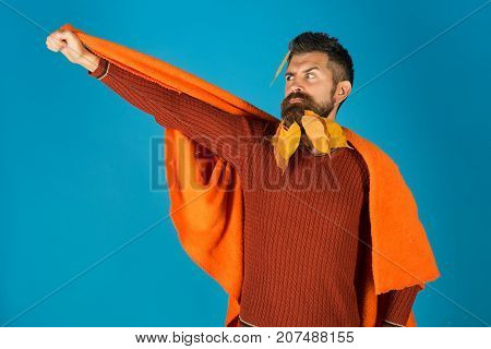 Man With Natural Yellow Fall Leaves Beard In Plaid.