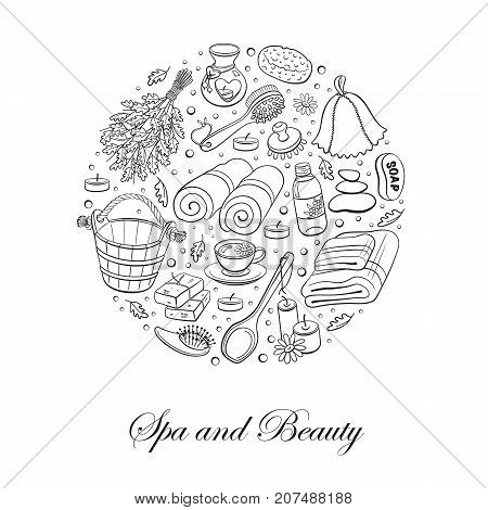 Sauna relaxation poster. Sauna accessories sketches in circle shape. Hand drawn spa items collection. Doodle sauna objects isolated on white.