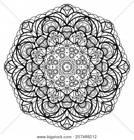Flower Mandala. Vintage decorative elements. Oriental pattern, vector illustration. Coloring book page. Islam, Arabic, Indian, moroccan spain turkish mystic ottoman motifs