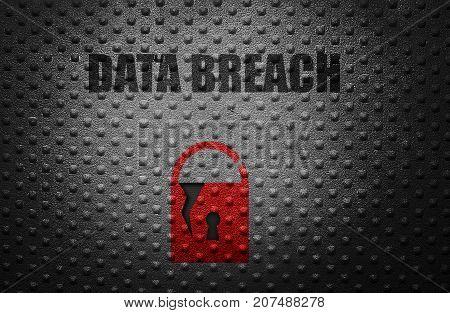 Broken security lock with Data Breach message