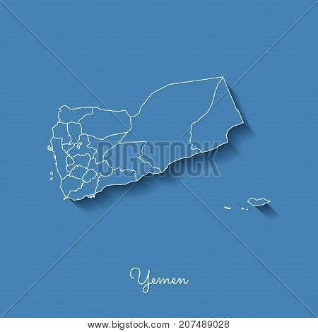Yemen Region Map: Blue With White Outline And Shadow On Blue Background. Detailed Map Of Yemen Regio