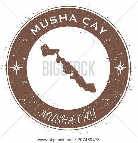 Musha Cay Circular Patriotic Badge. Grunge Rubber Stamp With Island Flag, Map And Name Written Along