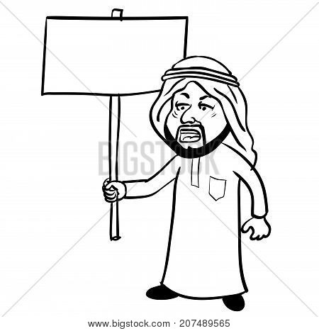 Cartoon of Islam Arab man Protest muslim man in traditional white robe costume and skullcap holding blank placard with copy space isolated. Vector Illustration