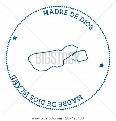 Madre De Dios Island Map Sticker. Hipster And Retro Style Badge. Minimalistic Insignia With Round Do