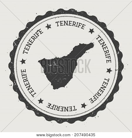 Tenerife Sticker. Hipster Round Rubber Stamp With Island Map. Vintage Passport Sign With Circular Te