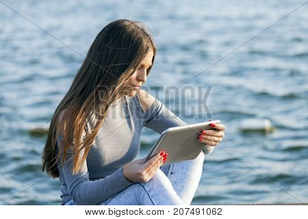 Woman Use Touch Pad Tablet Pc Internet Technology