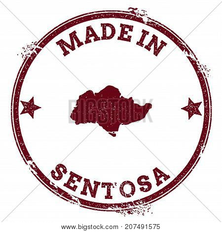 Sentosa Seal. Vintage Island Map Sticker. Grunge Rubber Stamp With Made In Text And Map Outline, Vec