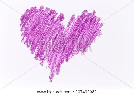 Purple heart crayon draw on white paper