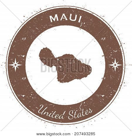 Maui Circular Patriotic Badge. Grunge Rubber Stamp With Island Flag, Map And Name Written Along Circ