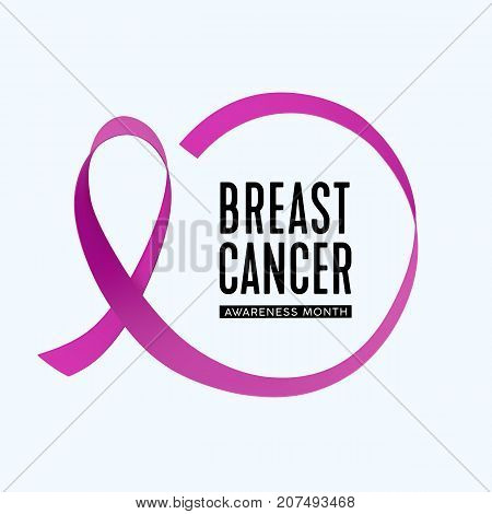 Vector Breast Cancer Awareness month icon. Pink Ribbon circle.
