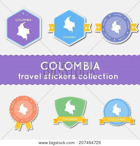 Colombia Travel Stickers Collection. Big Set Of Stickers With Country Map And Name. Flat Material St