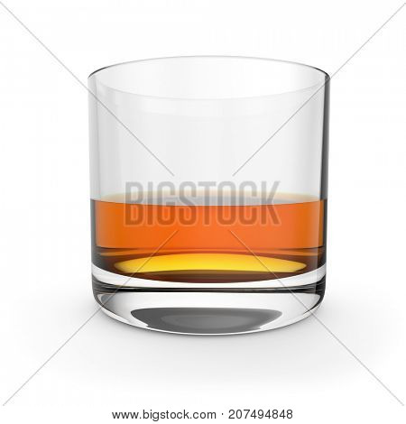 Whiskey glass isolated on white background. Side view. 3D illustration.