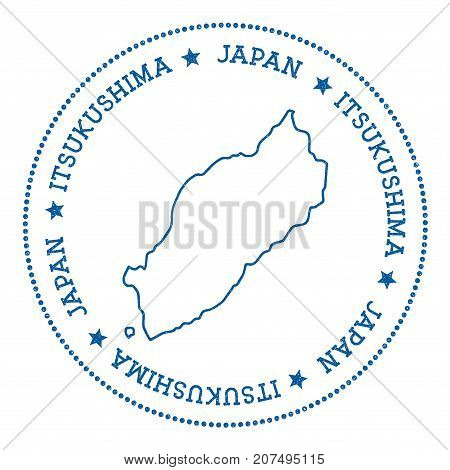 Itsukushima Map Sticker. Hipster And Retro Style Badge. Minimalistic Insignia With Round Dots Border