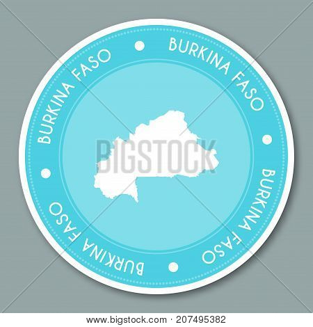 Burkina Faso Label Flat Sticker Design. Patriotic Country Map Round Lable. Country Sticker Vector Il