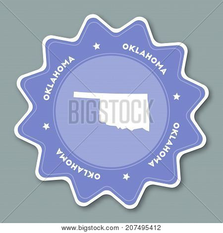 Oklahoma Map Sticker In Trendy Colors. Travel Sticker With Us State Name And Map. Can Be Used As Log