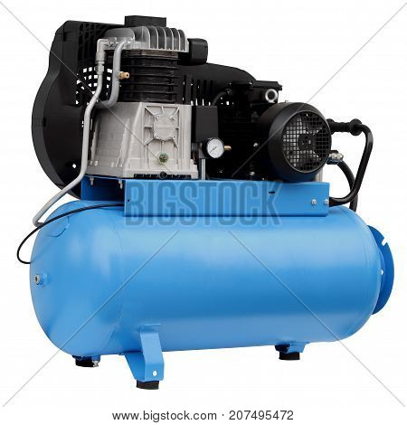 Modern blue compressor isolated on white background.