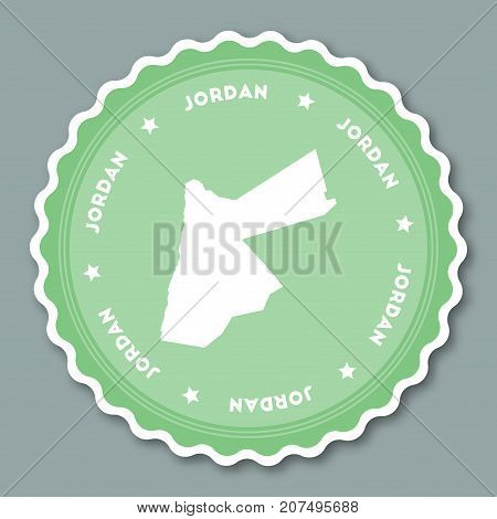 Jordan Sticker Flat Design. Round Flat Style Badges Of Trendy Colors With Country Map And Name. Coun