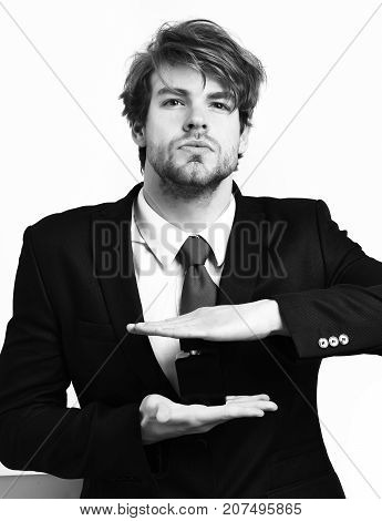 Caucasian Stylish Business Man Posing With Perfume