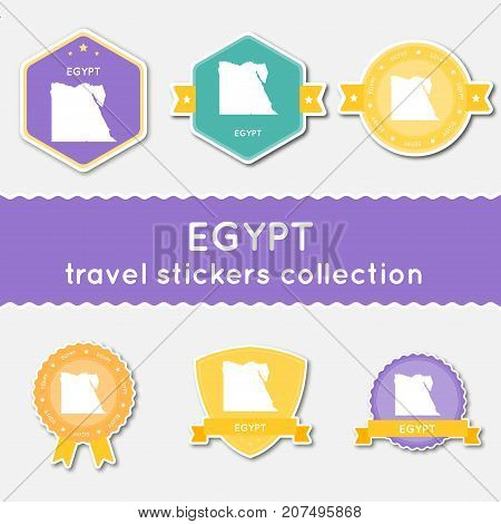 Egypt Travel Stickers Collection. Big Set Of Stickers With Country Map And Name. Flat Material Style