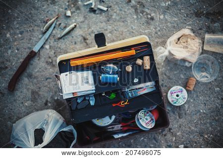 Stavros Greece - September 05 2017: Fishing accessories and equipment in a kit.