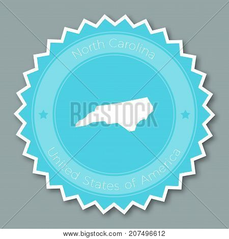 North Carolina Badge Flat Design. Round Flat Style Sticker Of Trendy Colors With The State Map And N