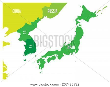 Political map of Korean and Japanese region, South Korea, North Korea and Japan. Green map with white labeling on white background. Vector illustration.