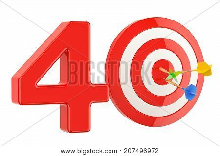 Target 40 success and achievement concept. 3D rendering isolated on white background