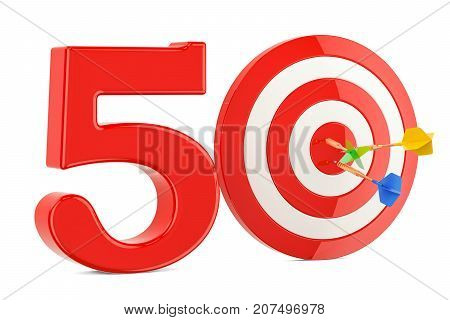 Target 50 success and achievement concept. 3D rendering isolated on white background