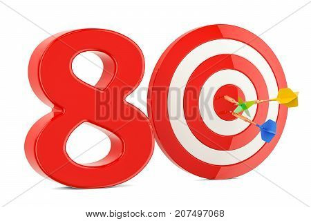 Target 80 success and achievement concept. 3D rendering isolated on white background