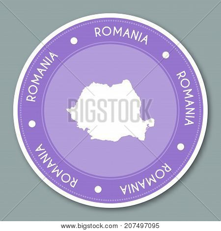 Romania Label Flat Sticker Design. Patriotic Country Map Round Lable. Country Sticker Vector Illustr