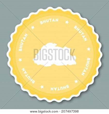 Bhutan Sticker Flat Design. Round Flat Style Badges Of Trendy Colors With Country Map And Name. Coun