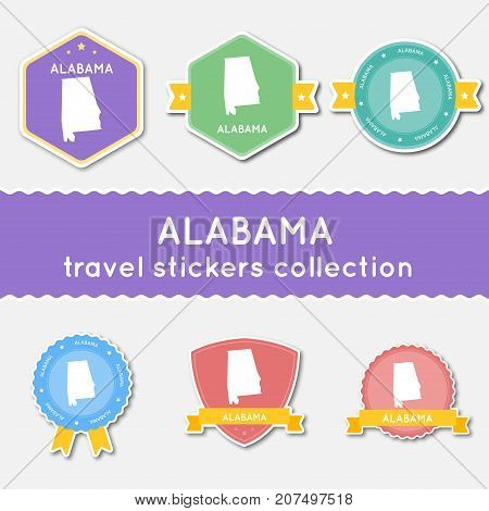 Alabama Travel Stickers Collection. Big Set Of Stickers With Us State Map And Name. Flat Material St