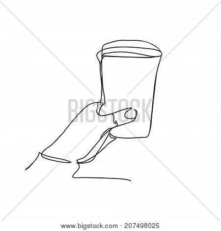 background with hand holding Plastic cup of coffee or tea. Continuous line drawing. Vector illustration