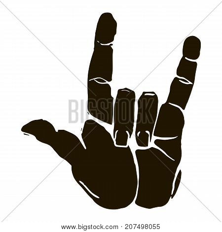 Vector black silhouette illustration of a human hand sign rock n roll isolated on white background. Can be used for web poster info graphic.