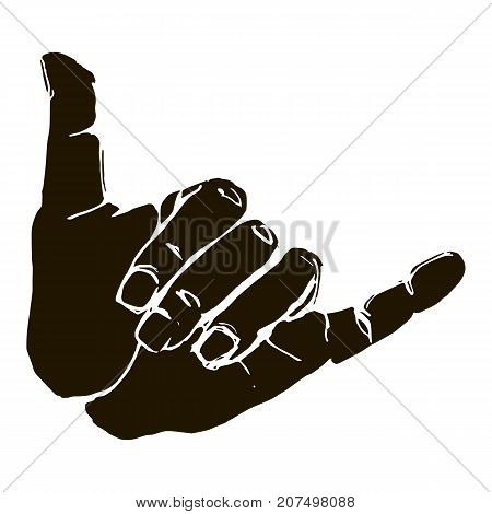 Vector black silhouette illustration of a human hand sign surfing shaka isolated on white background. Can be used for web poster info graphic.