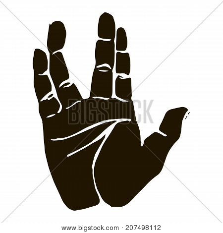 Vector black silhouette illustration of a human hand sign of vulcan salute isolated on white background. Can be used for web poster info graphic.