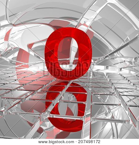 red uppercase letter o in futuristic space - 3d illustration