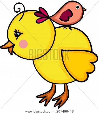 Scalable vectorial image representing a little yellow chick with birdie, isolated on white.