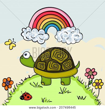 Scalable vectorial image representing a turtle looking up at a butterfly.
