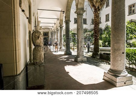 Palermo.Italy.May 26 2017.Colonnade in the inner courtyard of the archaeological Museum in Palermo. Sicily