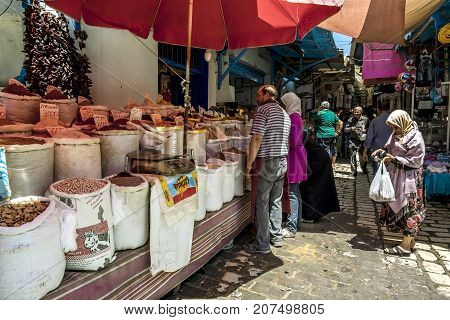 Sousse.Tunisia.24 may 2017.The inhabitants of Sousse on the market of the Medina old town