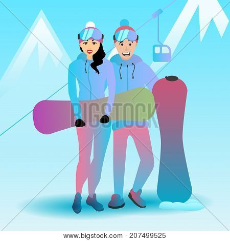 Snowboarding couple vector illustration. Female and male extreme characters and sports equipment. Man and woman with snowboards.