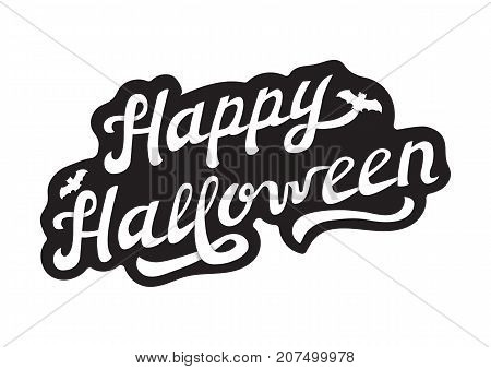 White Hand Drawn Lettering Happy Halloween with Shading. Black Logo Vector Illustration for Poster, Greeting Card, Logotype.