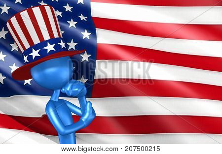 The Original 3D Uncle Sam Character Illustration In Thought