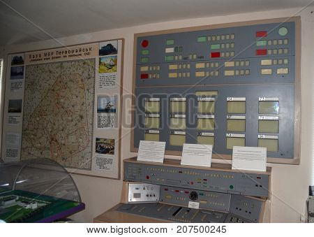 Control console of launch. Bunker for launch SS-18 Satan team. Museum of Soviet Strategic Nuclear Forces. POBUGSKOE, UKRAINE - September 2, 2017