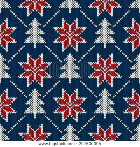 Winter Holiday Seamless Knitted Pattern with a Christmas Trees and Snowflakes. Knitting Sweater Design. Wool Knitted Texture