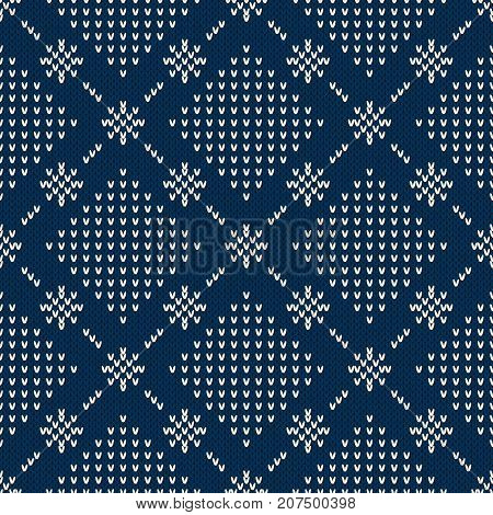 Winter Holiday Seamless Knitting Abstract Pattern. Wool Knitted Texture Imitation